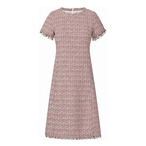 Entruria Short-Sleeve Tweed Dress, ${color}