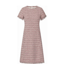 Entruria Short-Sleeve Tweed Dress