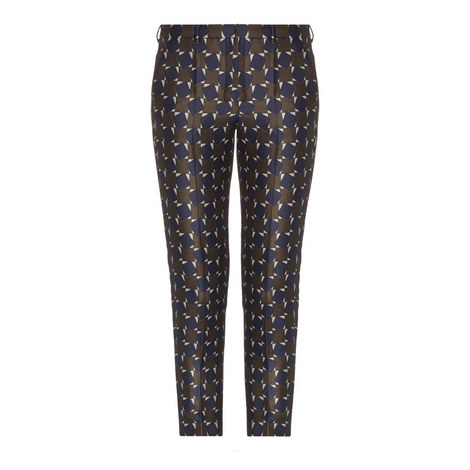 Facile Geometric Print Cropped Trousers, ${color}
