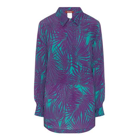 Fiabe Leaf Print Silk Blouse, ${color}
