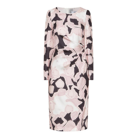 Lacca Printed Silk Dress, ${color}