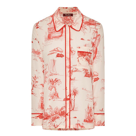 Onore Printed Silk Blouse, ${color}