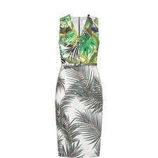 Oppio Tropical Print Sleeveless Dress