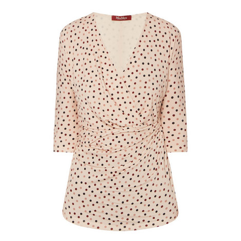 Pacos Polka Dot Wrap Top, ${color}