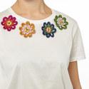 Saluto Flower Motif T-Shirt, ${color}