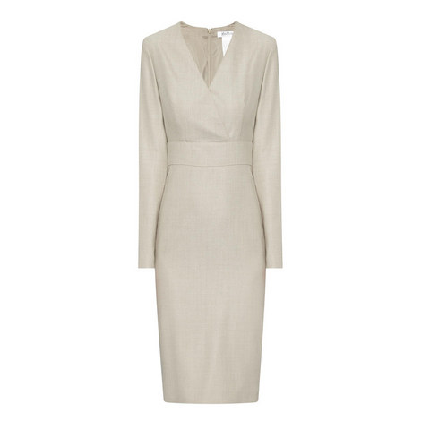 Savina Long Sleeve V-Neck Dress, ${color}
