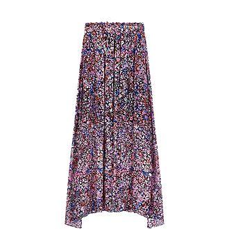 Floral Motif Silk Skirt