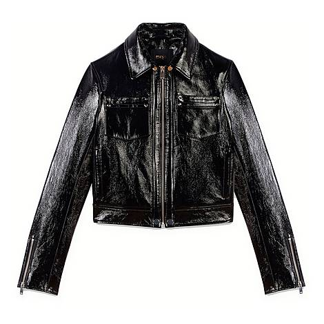 Vinyl-Style Leather Jacket, ${color}