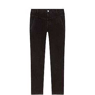 Straight-Cut Slash Pocket Jeans