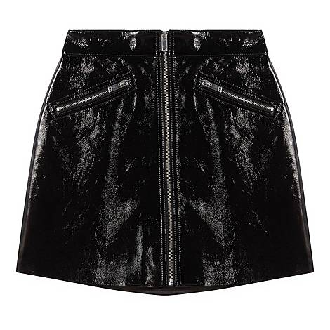 Zipped Vinyl-Style Leather Skirt, ${color}