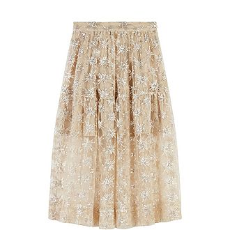 Sequin-Embroidered Tulle Skirt