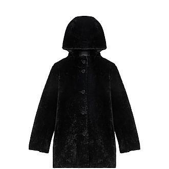 Reversible Hooded Lambswool Coat