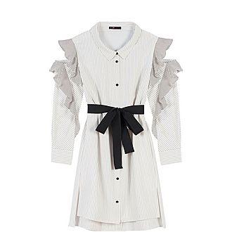 Striped Ruffled Shirt Dress
