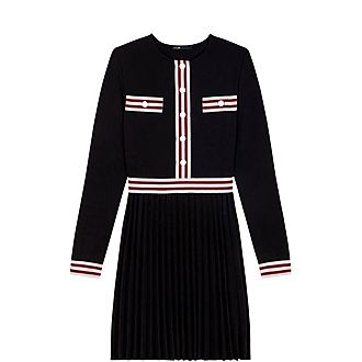 Contrasting Stripe Pleated Dress