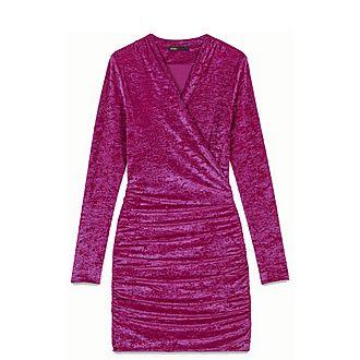 Crushed Velvet Draped Dress