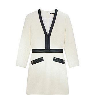 Tweed-Like Contrast Dress
