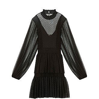 Plumetis Tully Ruffled Dress