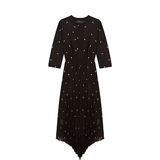 Embroidered Cashmere Pleated Dress