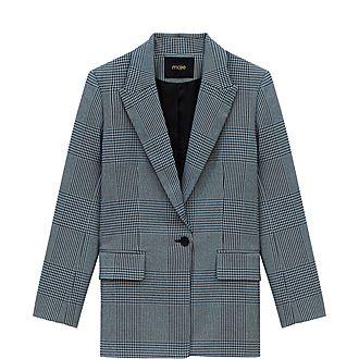 Straight-Cut Plaid Jacket