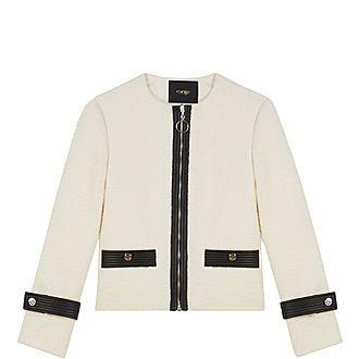 Zipped Tweed-Style Contrast Jacket