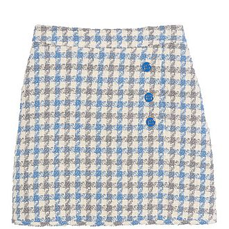 Short Houndstooth Tweed Skirt
