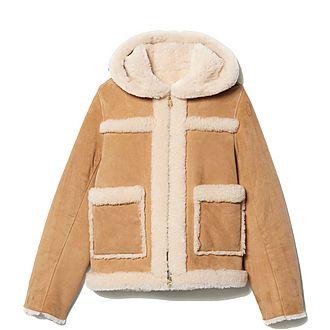 Hooded Short Sheepskin Coat
