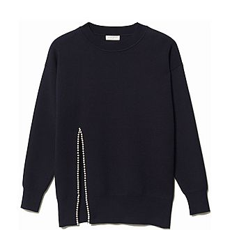 Bead-Embroidered Vented Sweater