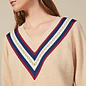 V-Neck Sweater With Braid Trim, ${color}