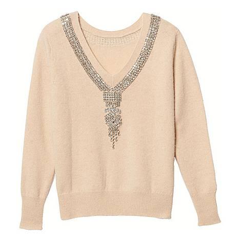 Jewel-Trimmed Neck Sweater, ${color}