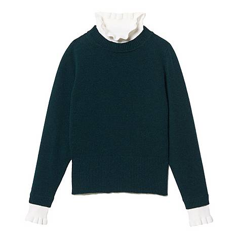 High-Neck Contrasting Cuff Sweater, ${color}