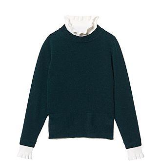 High-Neck Contrasting Cuff Sweater