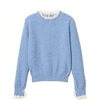 Pointelle Knit Lace-Trimmed Sweater