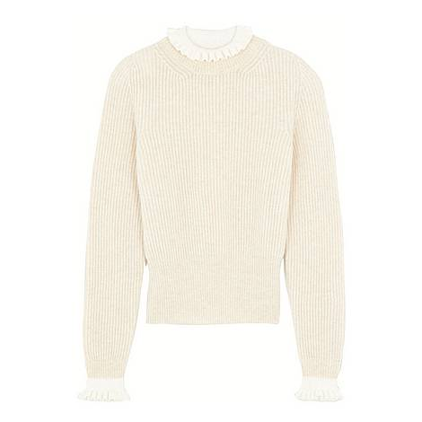 High-Neck Sweater With Contrasting Cuffs, ${color}
