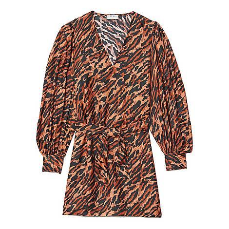 Printed Silk Dress, ${color}