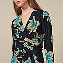 Printed Dress With Draped Belt, ${color}
