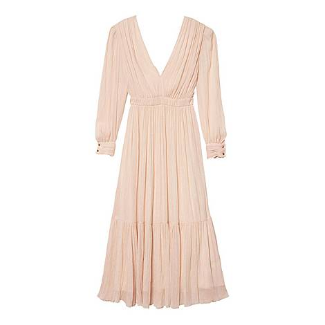 Long-Sleeved Pleated Dress, ${color}