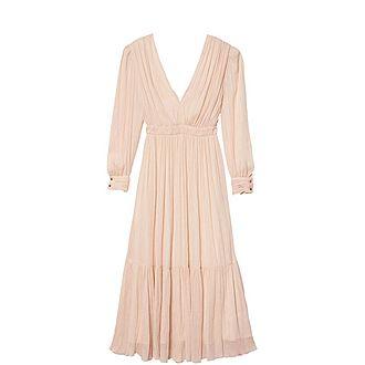Long-Sleeved Pleated Dress