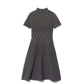 Stud-Trimmed Knit Dress