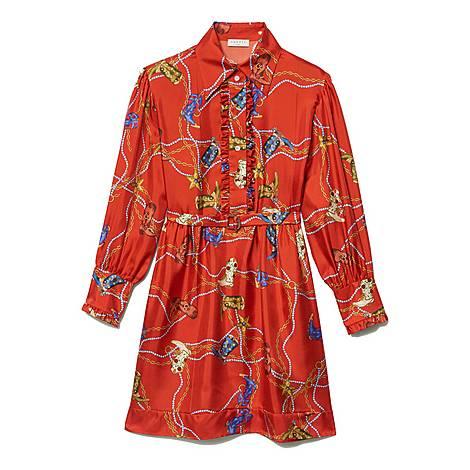 Printed Silk Twill Dress, ${color}