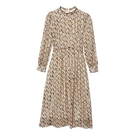 Printed Lurex Silk Midi Dress, ${color}