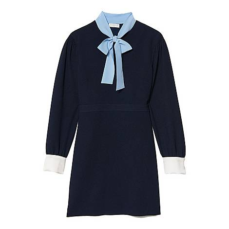 Textured Dress With Tie Bow, ${color}