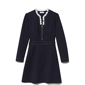 Ruffled Collar Top-Stitched Dress