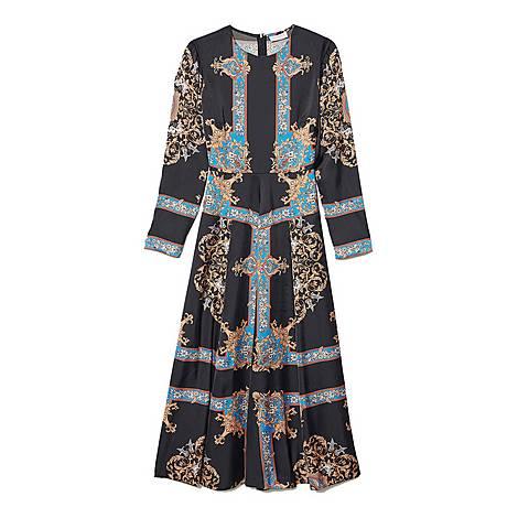 Block Scarf Print Dress, ${color}