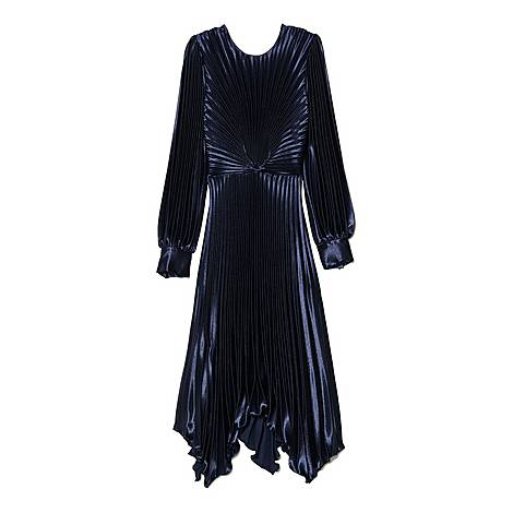 Pleated Asymmetric Dress, ${color}