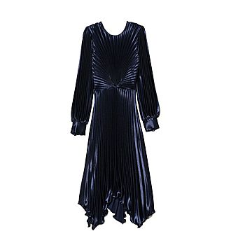 Pleated Asymmetric Dress