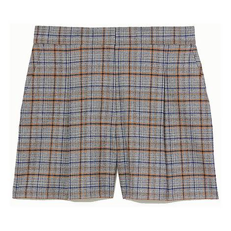 Front-Pleated Check Shorts, ${color}
