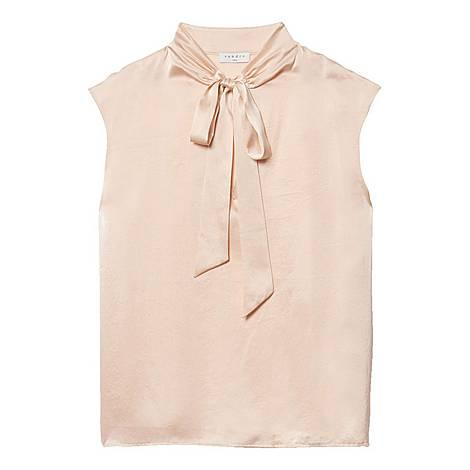 Bow Collar Silk Satin Top, ${color}
