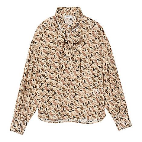 Bow Collar Printed Flowing Top, ${color}
