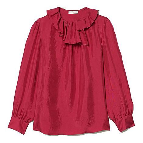 Asymmetric Collar Silk Top, ${color}