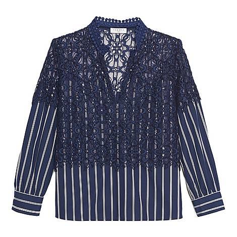 Striped Lace Shirt, ${color}